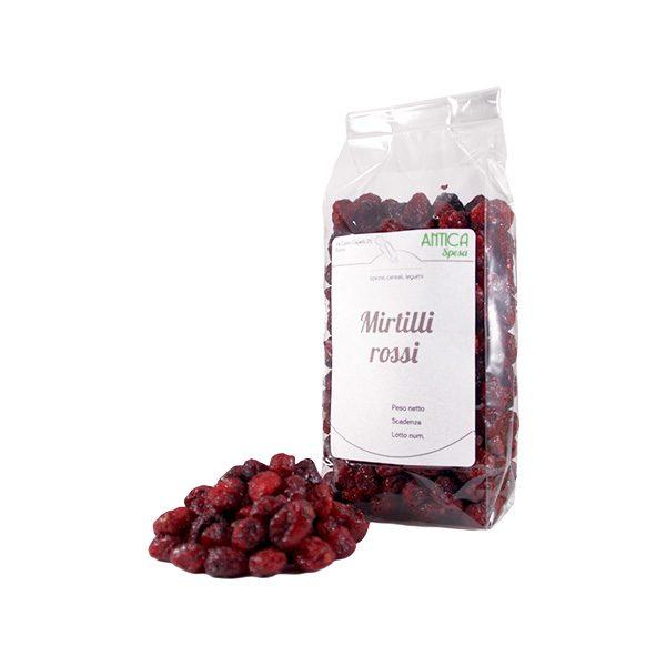Mirtilli rossi interi disidratati in confezione da 250 grammi o 500 grammi o 1 kg