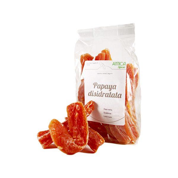 Papaya disidratata in confezione da 250 grammi, 500 grammi o 1 kg.