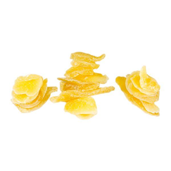 Zenzero disidratato a fette con zucchero di canna in confezione da 250 grammi, 500 grammi o 1 kg