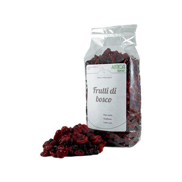 Frutti di bosco disidratati, Mirtilli rossi e blu, Lamponi e Ribes nero, in confezione da 250 o 500 grammo o 1 kg.