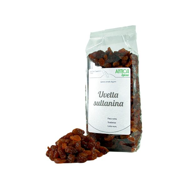 Uvetta sultanina senza zuccheri aggiunti in confezione da 250 grammi o 500 grammi o 1 kg.