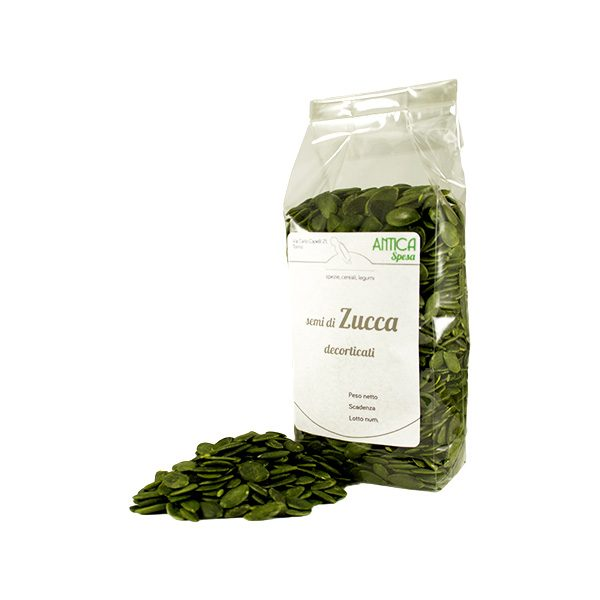 Semi di zucca decorticati non salati in confezione da 250 grammi, 500 grammi o 1 kg