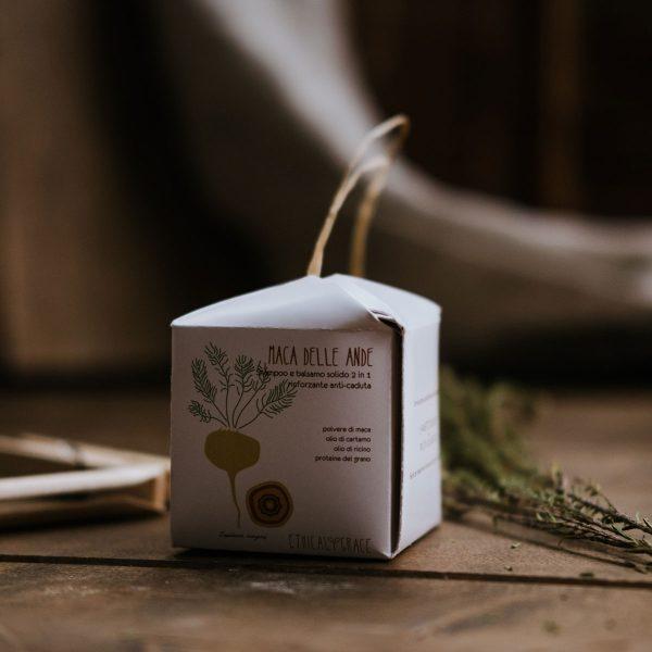 Shampoo e balsamo solido 2 in 1, solo ingredienti naturali, Maca delle Ande Ethical grace anticaduta e rinforzante.