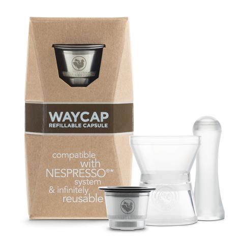capsula ricaricabile compatibile Nespresso in acciaio inossidabile Waycap Made in Italy, confezione da 1 capsula con imbuto e pressino