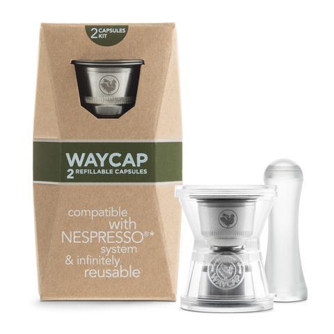 capsule ricaricabili compatibili Nespresso in acciaio inossidabile Waycap Made in Italy, confezione da 2 capsule con imbuto e pressino