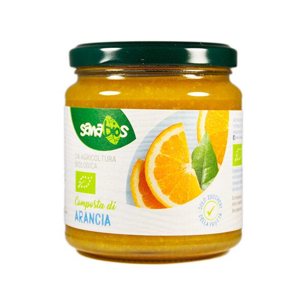composta arancia biologica senza zuccheri aggiunti in barattolo di vetro