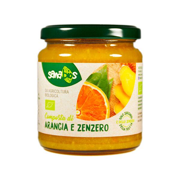 composta di arancia e zenzero biologica senza zucchero in barattolo di vetro