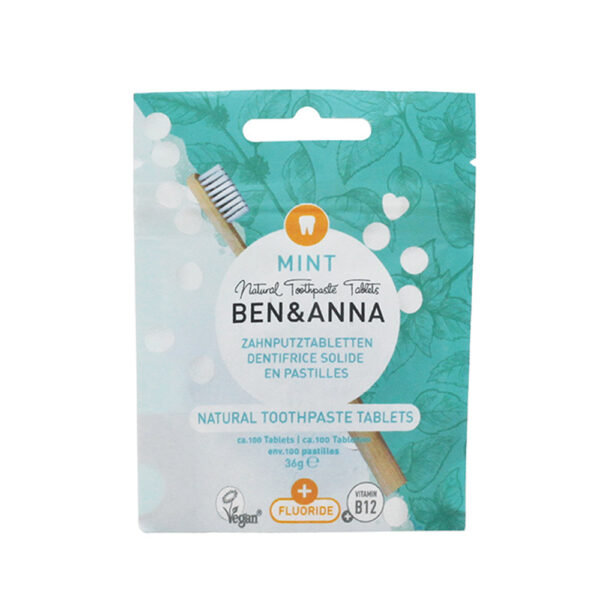 dentifricio naturale in capsule con fluoro gusto menta